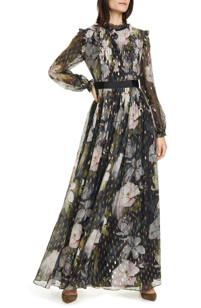 TED BAKER LONDON Hunnie Opal Long Sleeve Maxi Dress, Main, color, BLACK