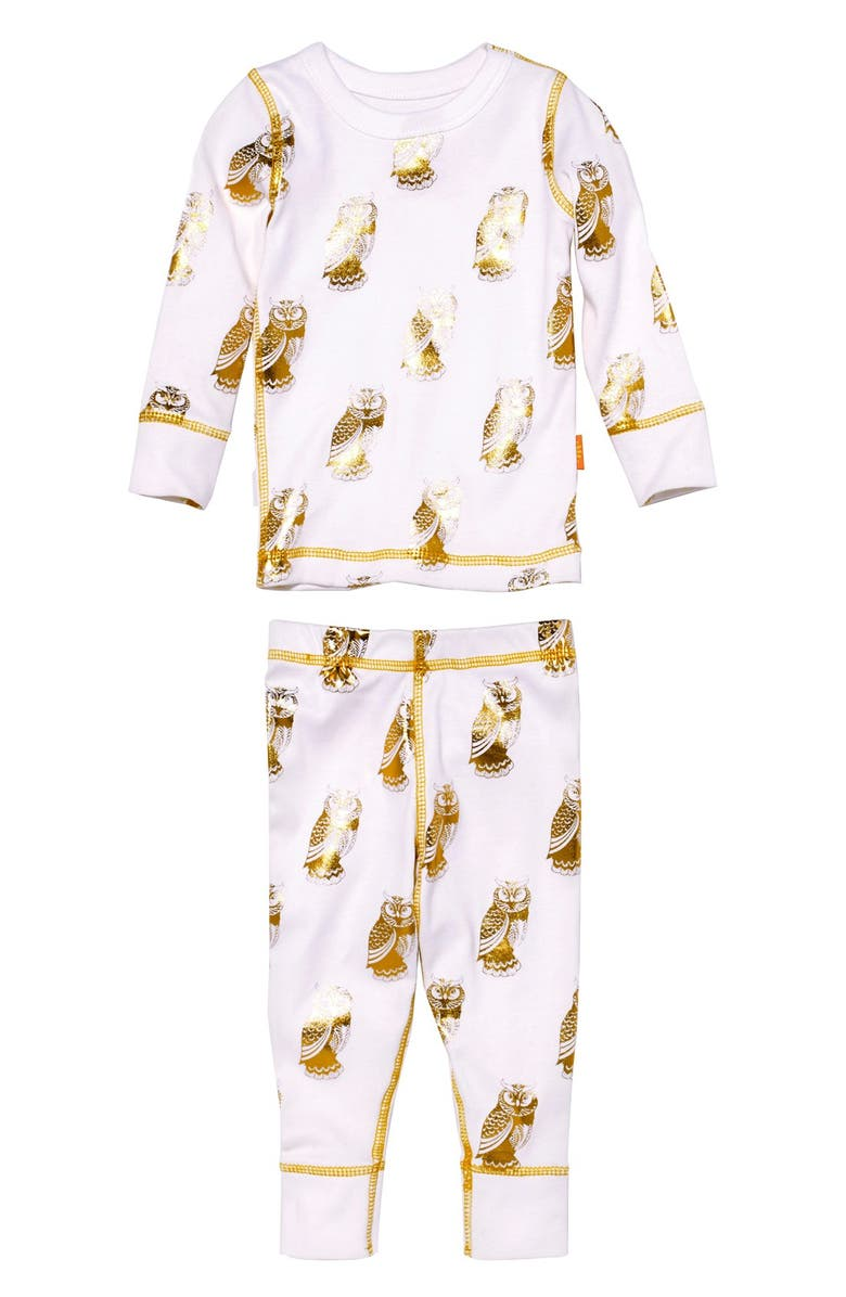 MASALA BABY Masalababy 'Metallic Owl' Organic Cotton Fitted Two-Piece Pajamas, Main, color, 100