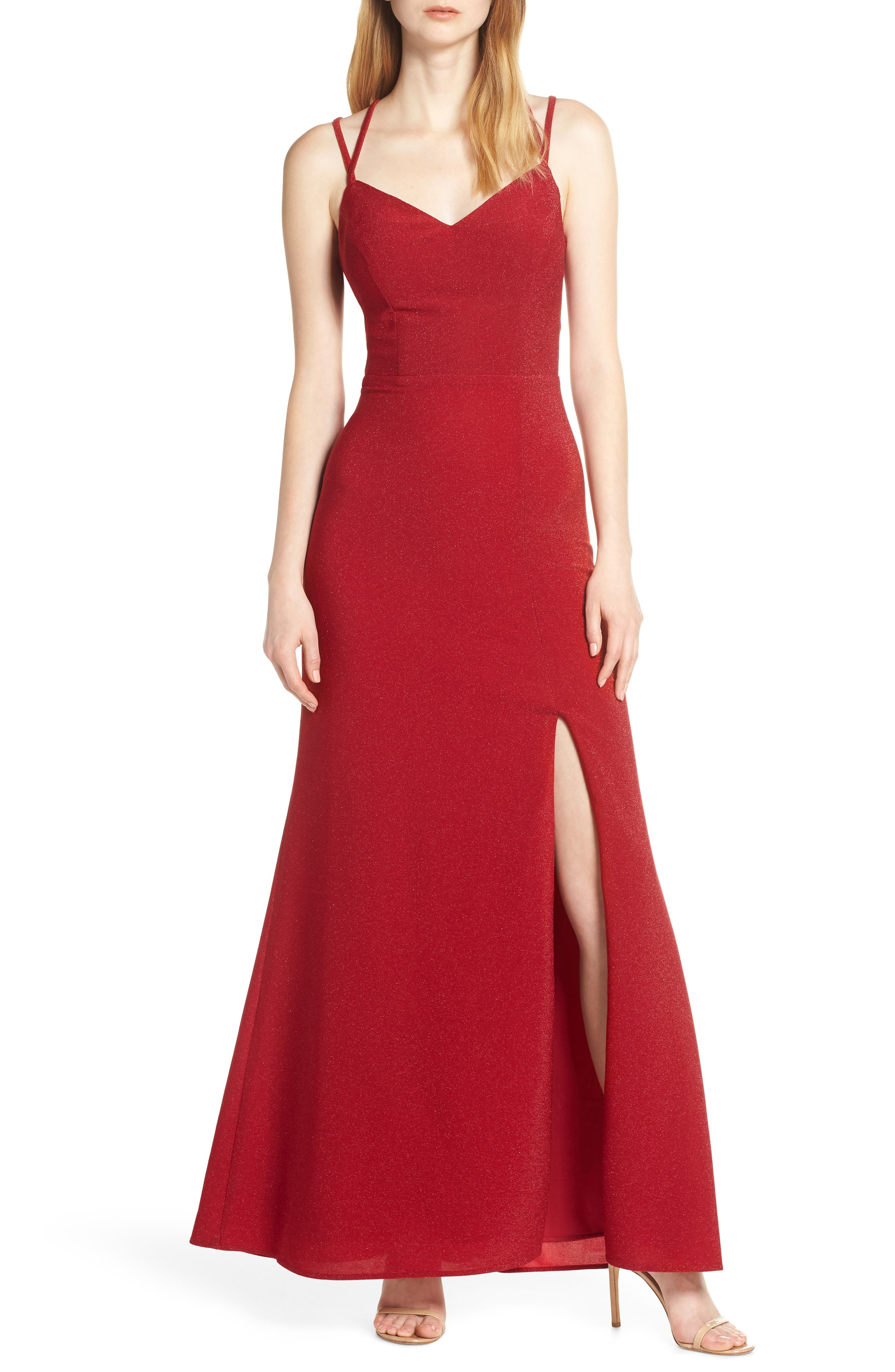 Morgan & Co. Strappy Glitter Knit Evening Dress, Red