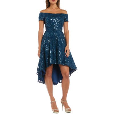 Morgan & Co. Sequin & Lace Off The Shoulder High/low Dress, Blue
