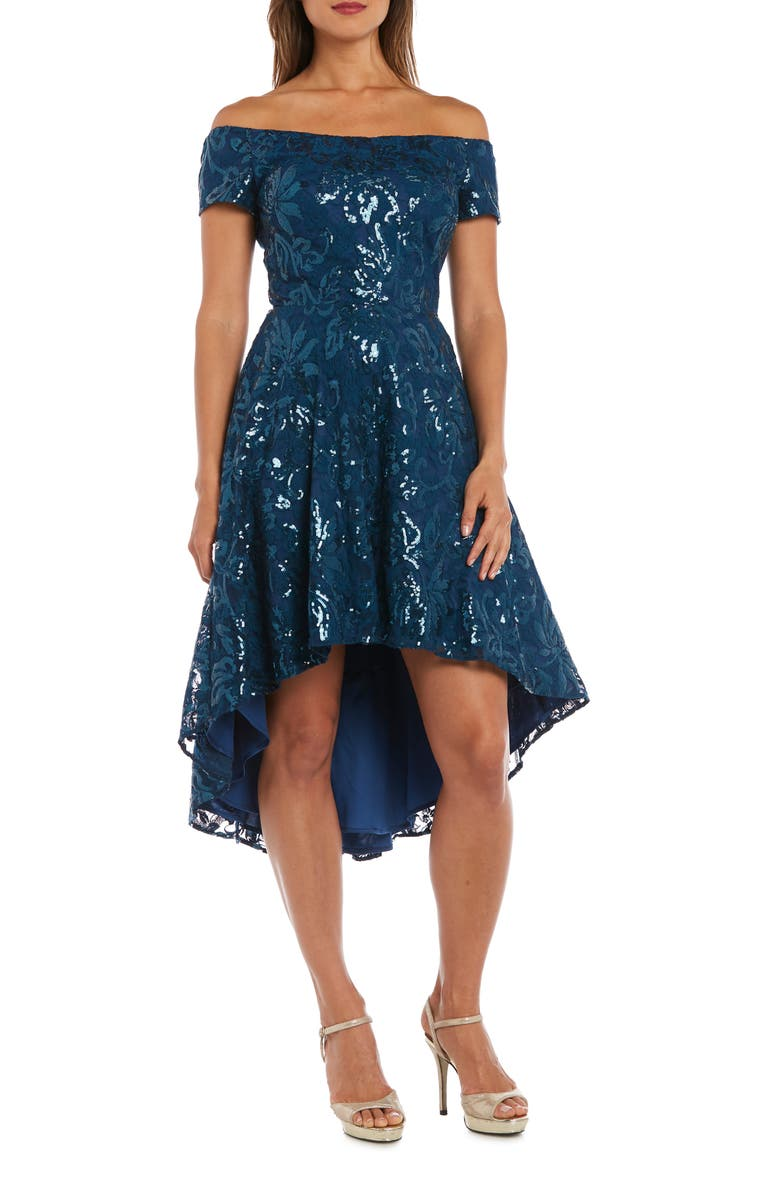 MORGAN & CO. Sequin & Lace Off the Shoulder High/Low Dress, Main, color, PEACOCK