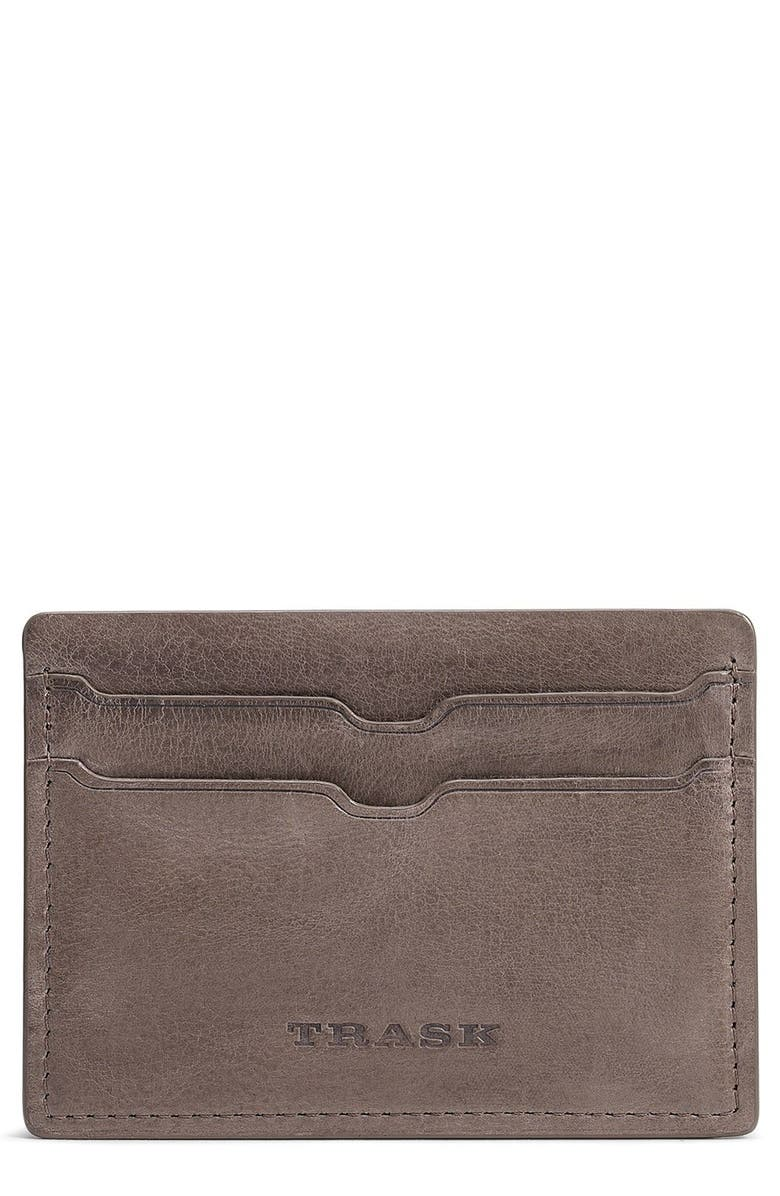 TRASK Canyon Leather Card Case, Main, color, GREY