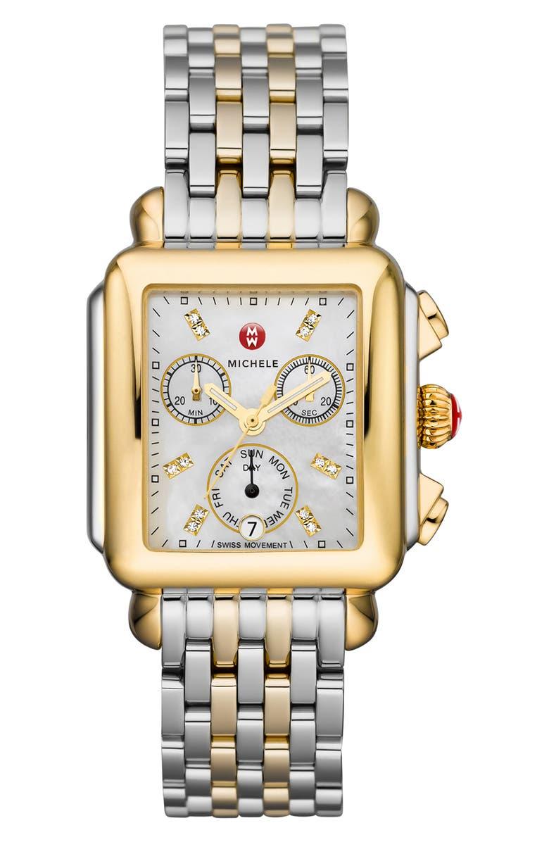 MICHELE Deco Diamond Chronograph Watch Head & Bracelet, 33mm, Main, color, GOLD/ SILVER/ WHITE