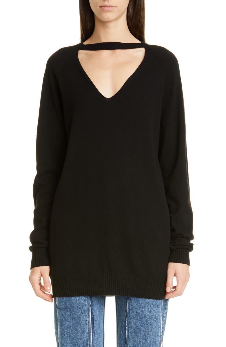 MAISON MARGIELA Open Neck Cashmere Sweater, Main, color, BLACK