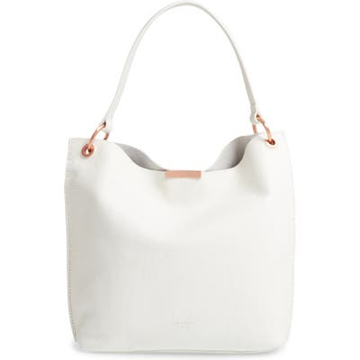 Ted Baker London Candiee Bow Leather Hobo - White
