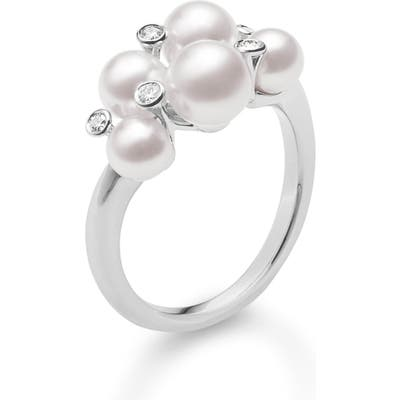 Mikimoto Japan Collections Diamond & Pearl Cluster Ring