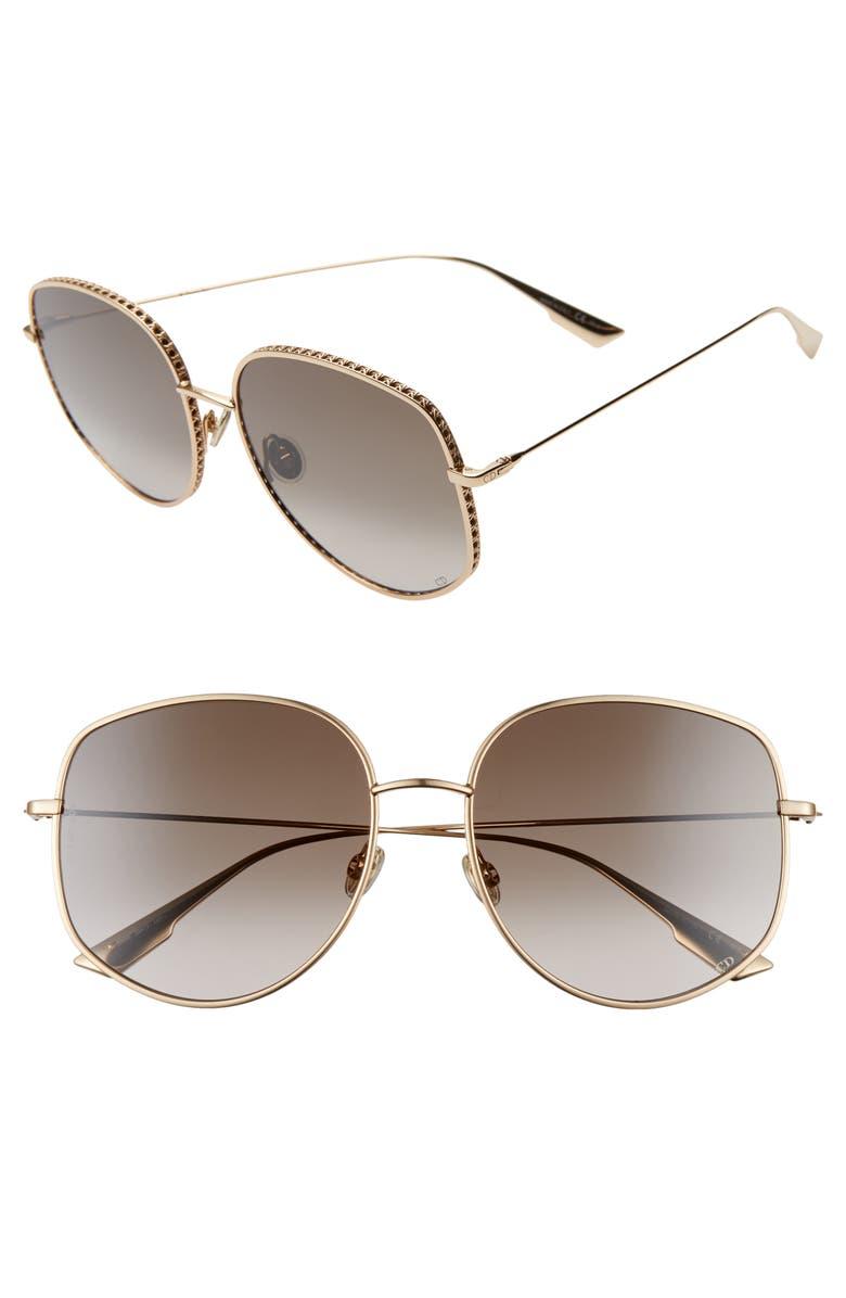 DIOR 58mm Gradient Square Sunglasses, Main, color, ROSE GOLD/ BLACK BROWN GREEN