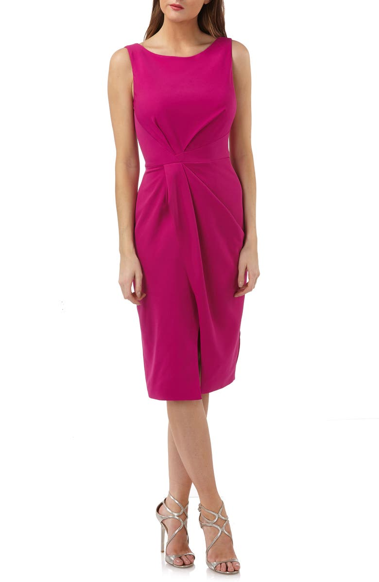JS COLLECTIONS Pleated Crepe Cocktail Dress, Main, color, 655