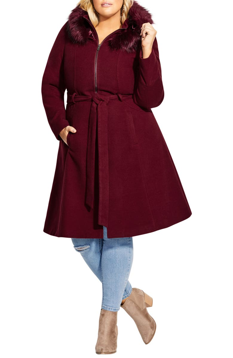 CITY CHIC Miss Mysterious Coat with Faux Fur Trim, Main, color, DARK CHERRY
