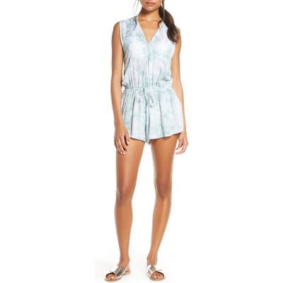 Elan Tie Dye Cover-Up Romper, Blue/green