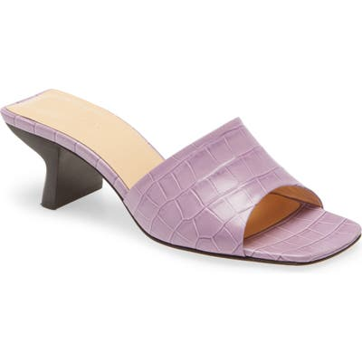By Far Lily Croc Embossed Leather Slide Sandal, Purple