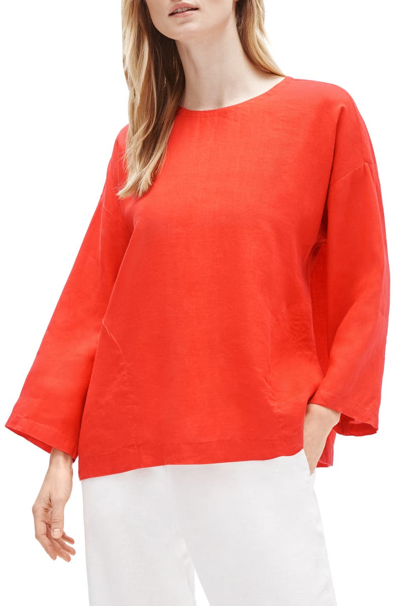 EILEEN FISHER Organic Linen Boxy Tunic, Main, color, GERANIUM