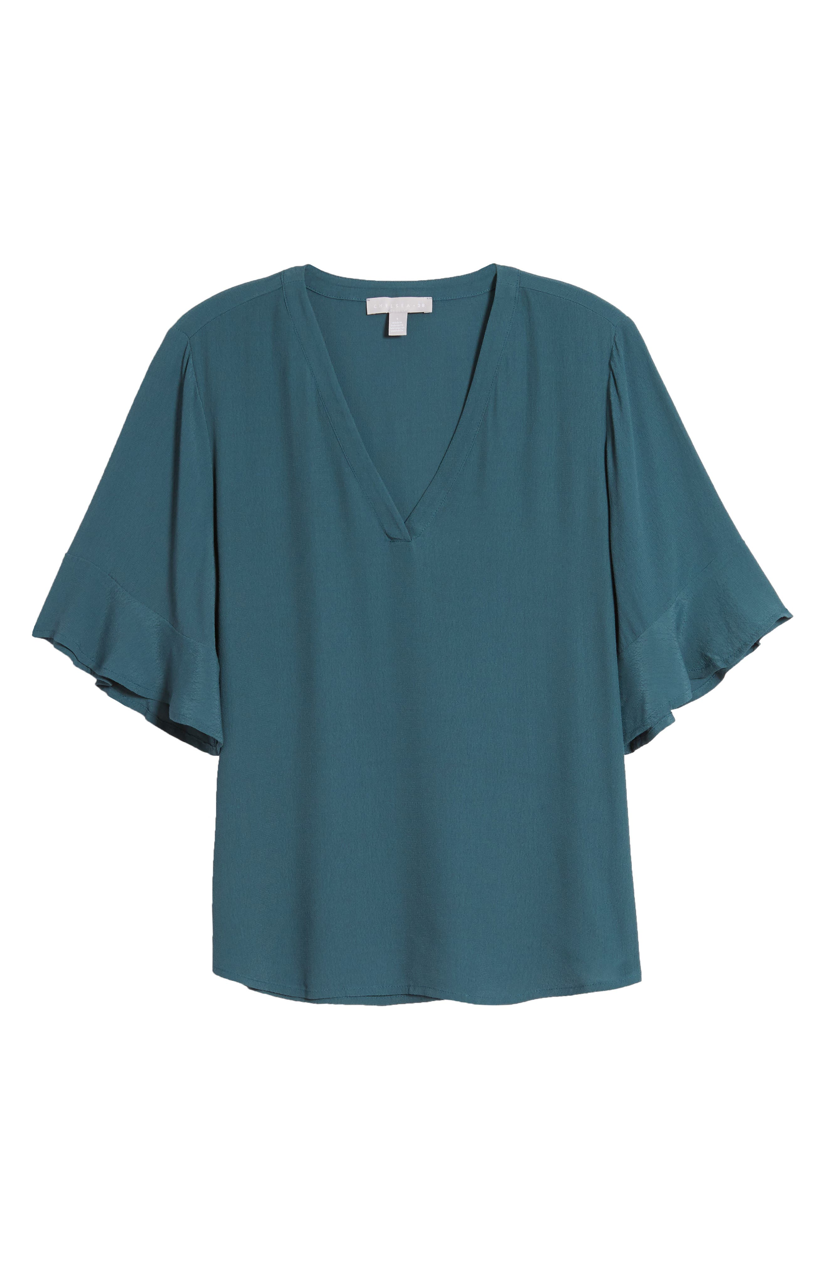 Gentle ruffles trim the sleeves of a sophisticated woven top complete with a flattering V-neck. Style Name: Chelsea28 Ruffle Sleeve V-Neck Top. Style Number: 5990909. Available in stores.