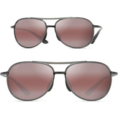 Maui Jim Alelele 60Mm Aviator Sunglasses - Transparent Smoke Grey/ Bronze