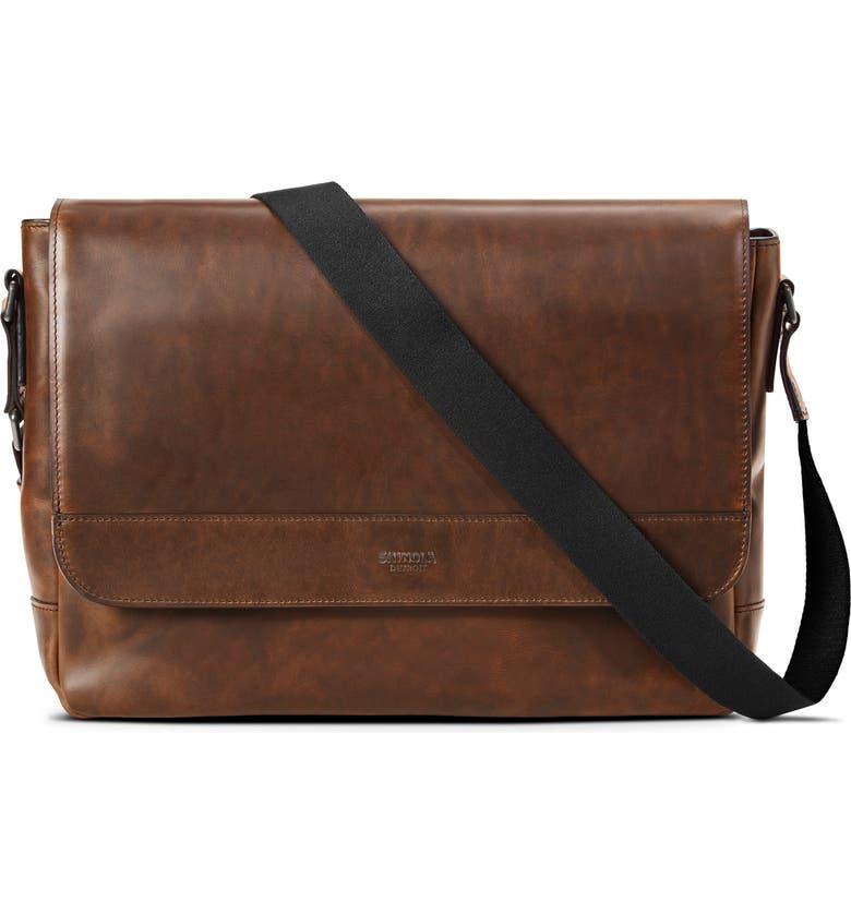 SHINOLA Navigator Leather Messenger Bag, Main, color, MEDIUM BROWN