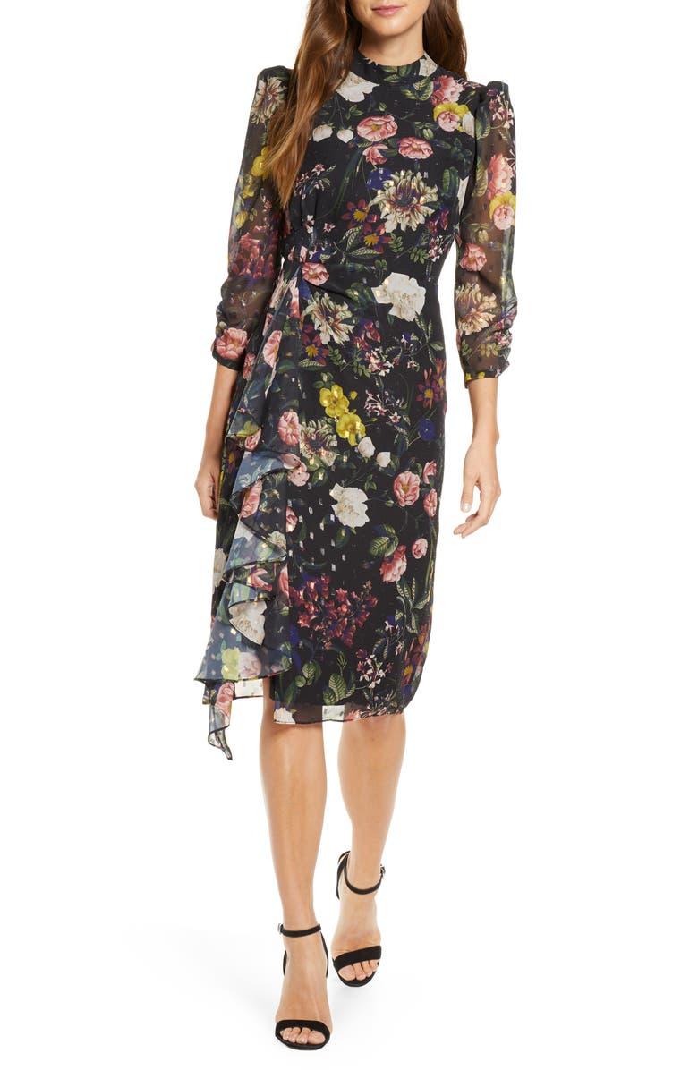 ELIZA J Ruffle High Neck Floral Chiffon Dress, Main, color, BLACK MULTI
