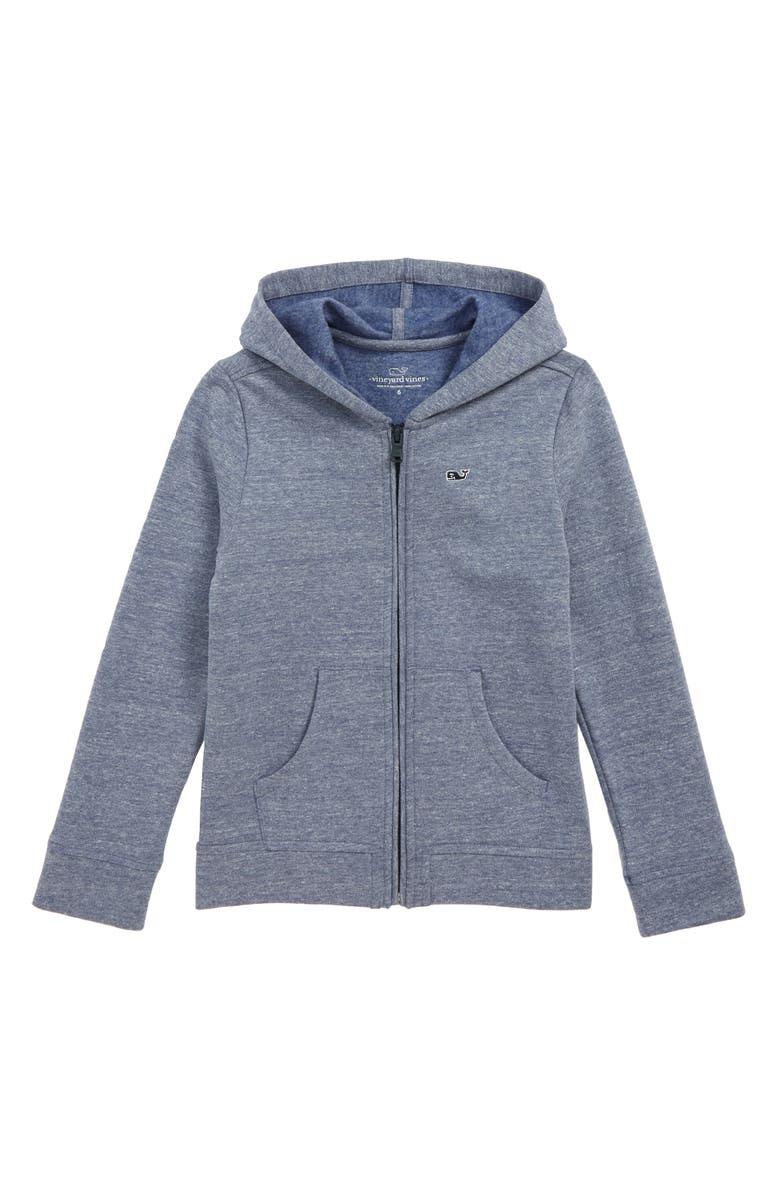 VINEYARD VINES Full Zip Hooded Sweatshirt, Main, color, DEEP BAY