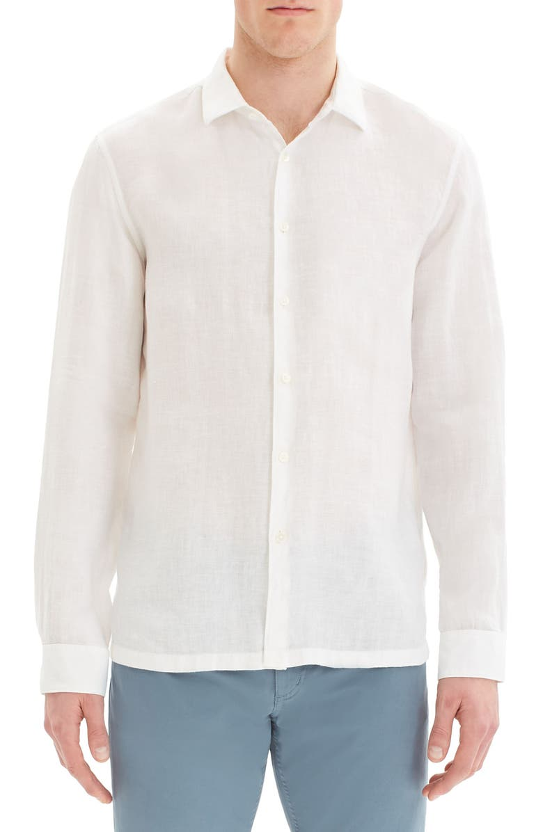 THEORY Murray Slim Fit Linen Button-Up Shirt, Main, color, 100