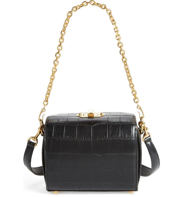 ALEXANDER MCQUEEN Box Bag 19 Croc Embossed Leather Bag, Main, color, BLACK