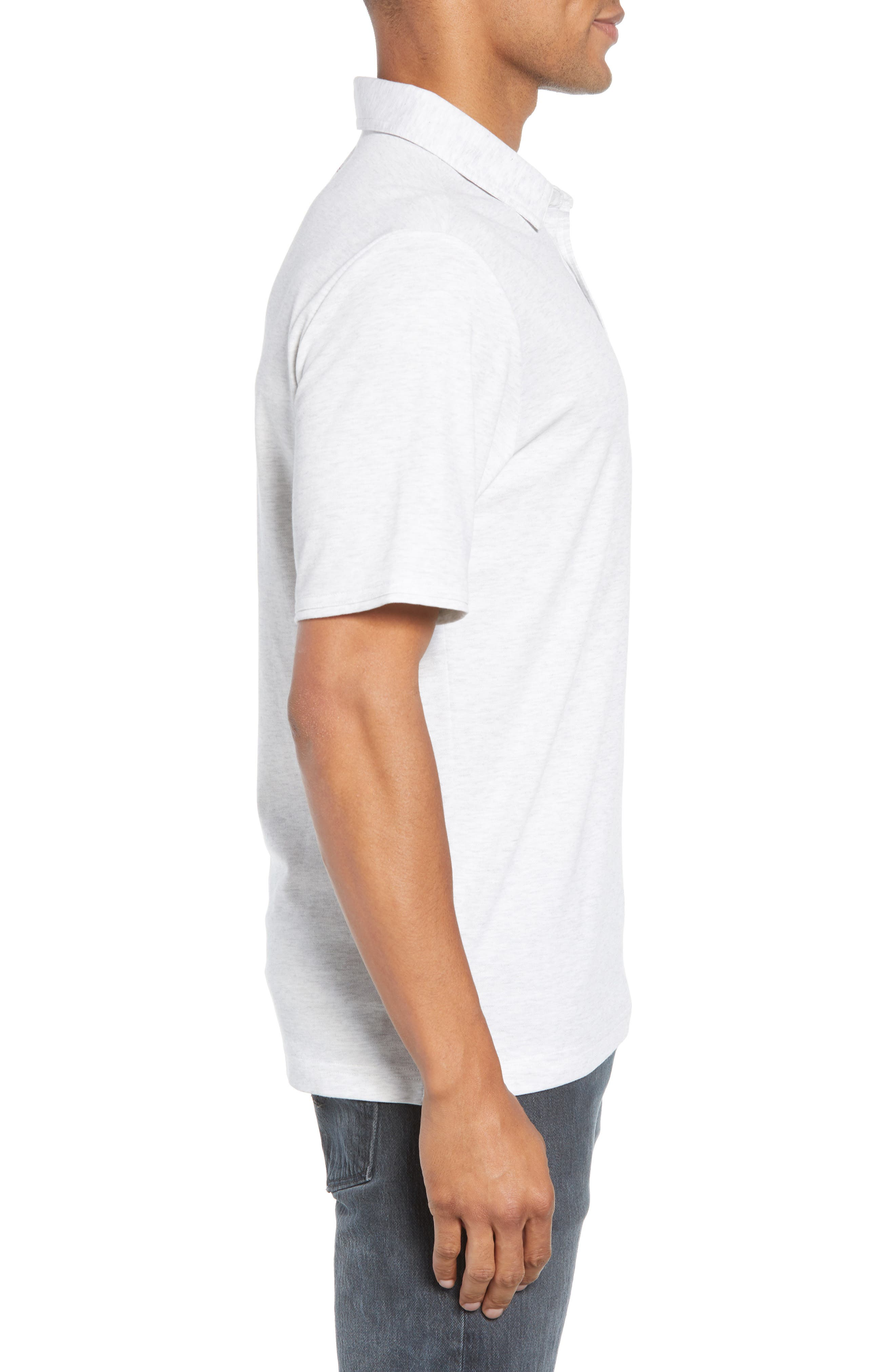 ,                             Classy Regular Fit Jersey Polo,                             Alternate thumbnail 3, color,                             HEATHER WHITE