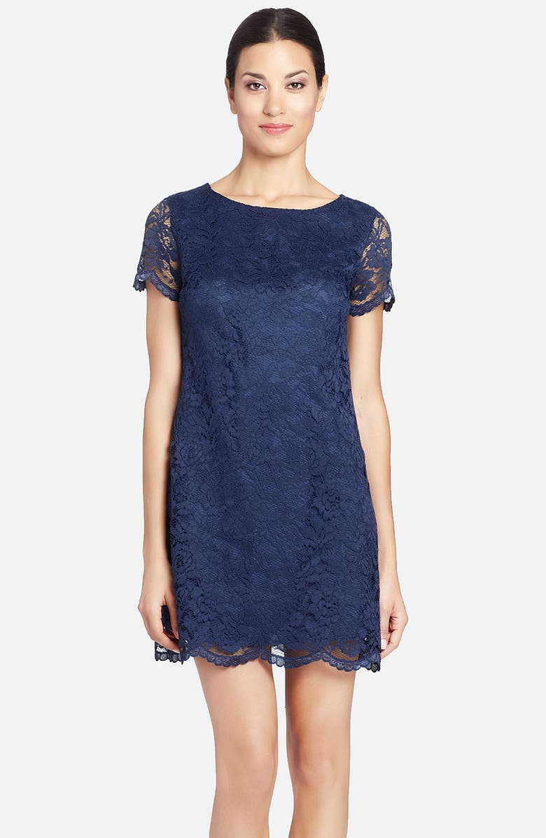 CYNTHIA STEFFE 'Reese' Illusion Sleeve Lace Shift Dress, Main, color, 477