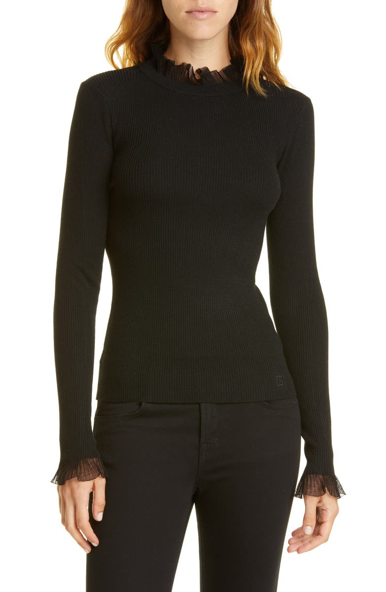 TED BAKER LONDON Frill Trim Sweater, Main, color, BLACK