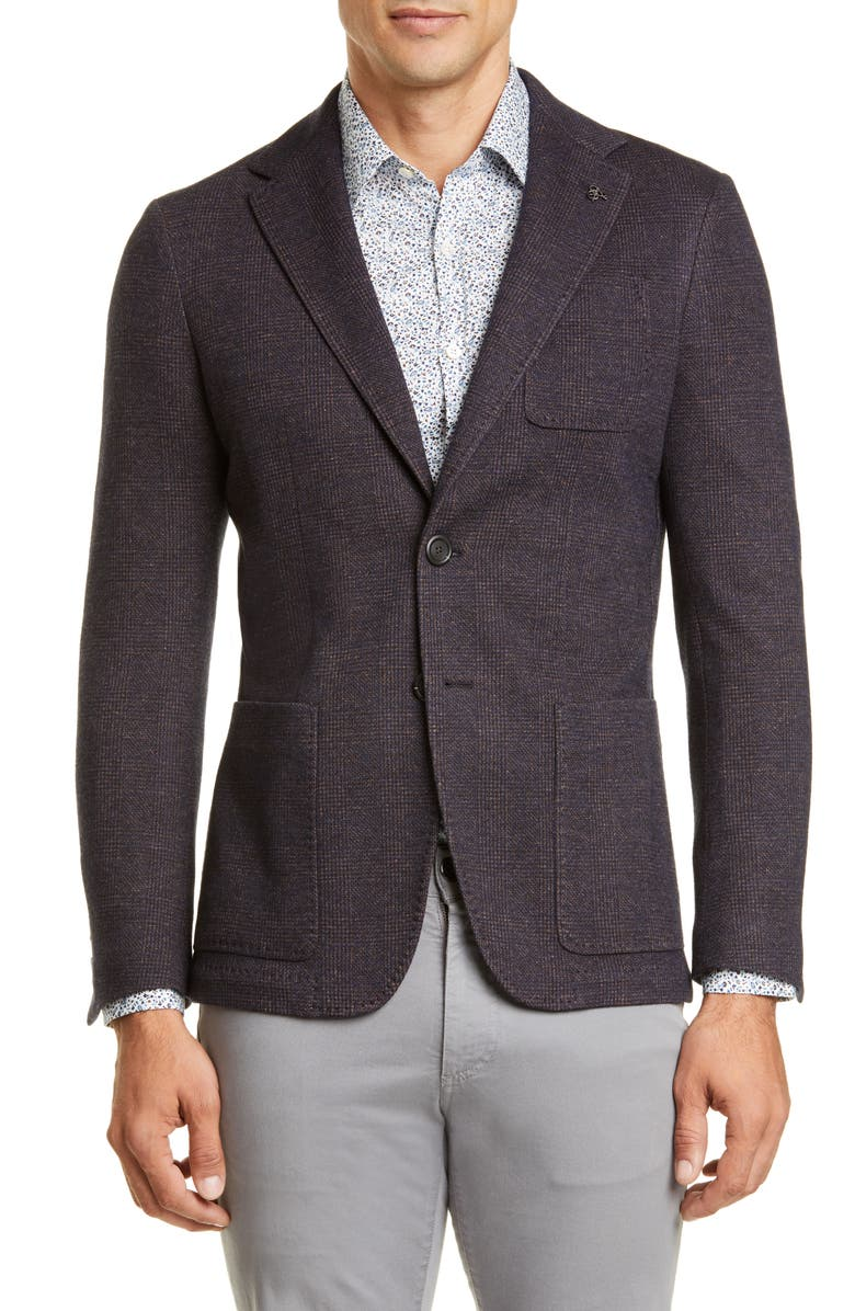 CANALI Classic Fit Plaid Knit Cotton & Wool Sport Coat, Main, color, BROWN