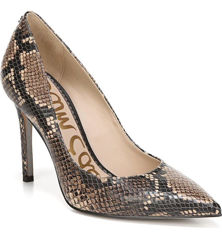 SAM EDELMAN Hazel Pointy Toe Pump, Main, color, HAZELNUT TROPICAL SNAKE