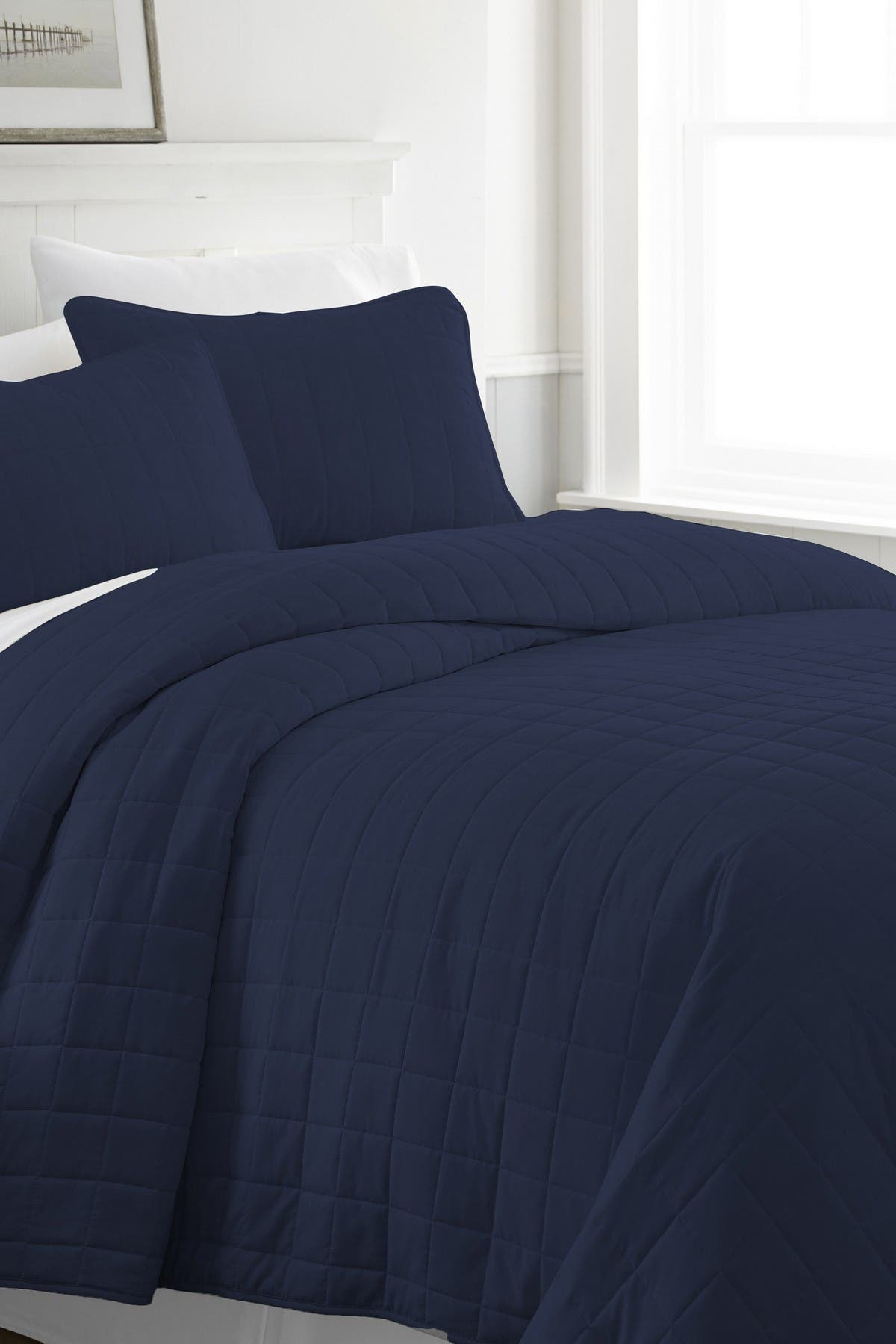 Image of IENJOY HOME Home Spun Premium Ultra Soft Square Pattern Quilted Full/Queen Coverlet Set - Navy