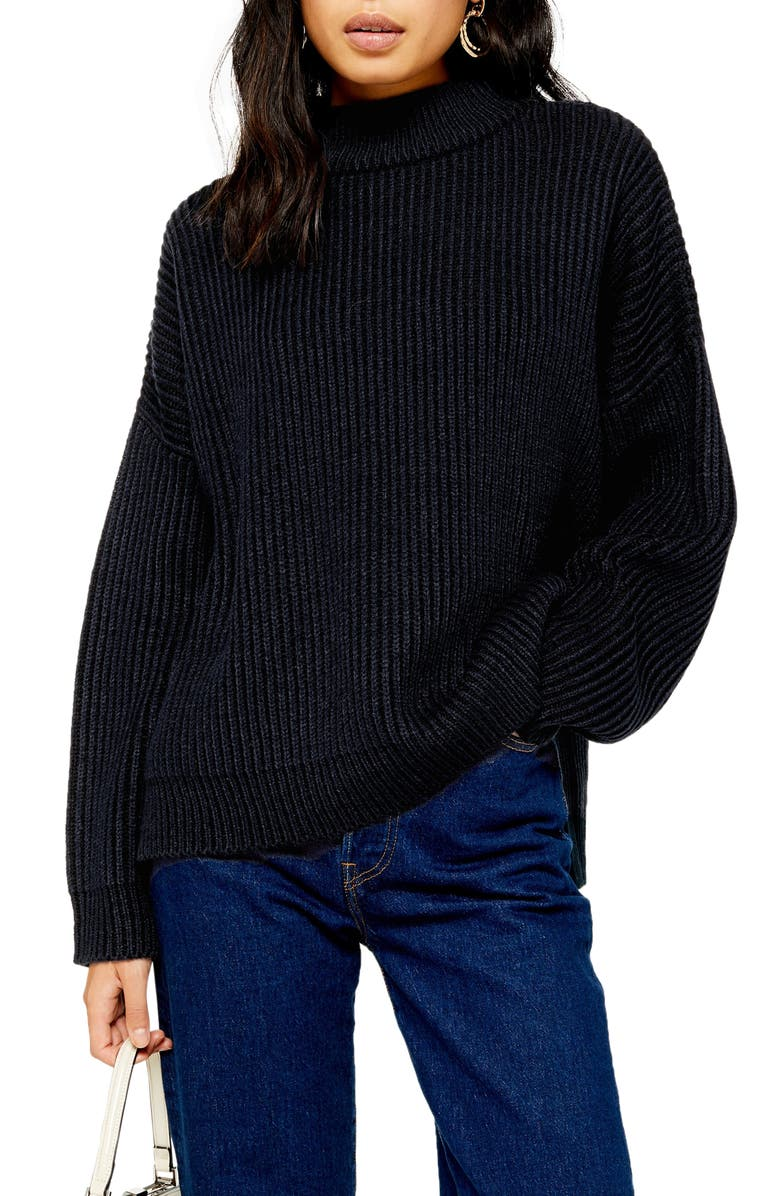 TOPSHOP Mock Neck Sweater, Main, color, NAVY