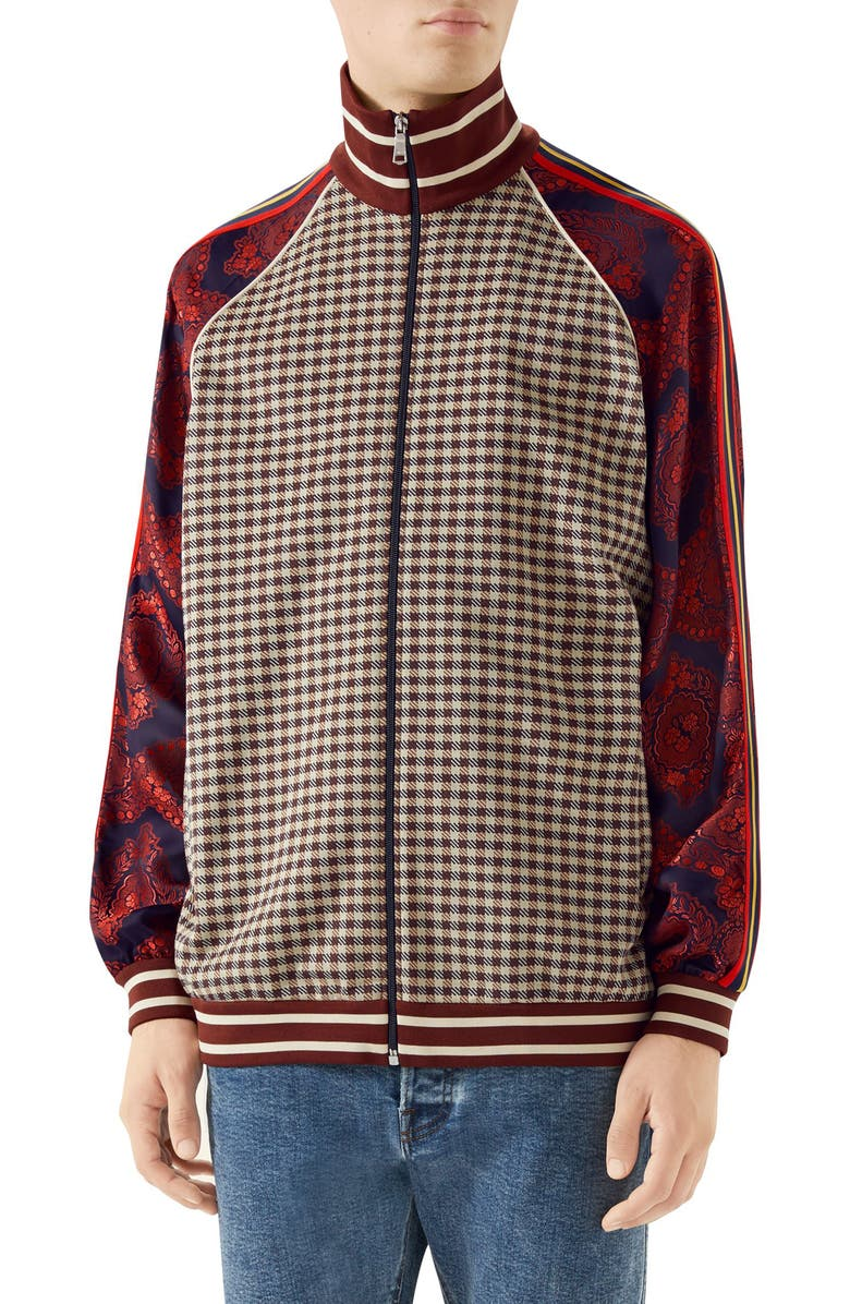 GUCCI Mixed Material Track Jacket, Main, color, BROWN MULTICOLOR