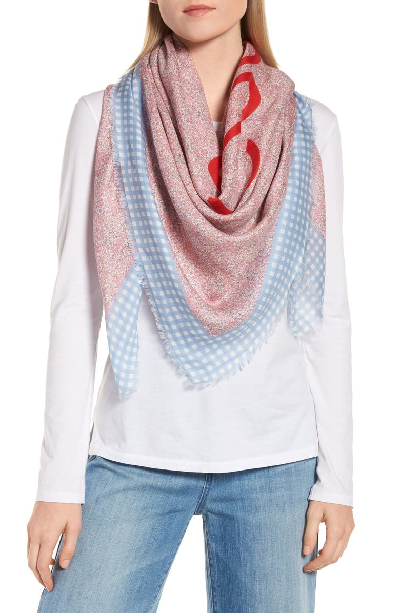 LOEWE Liberty Gingham Scarf, Main, color, PINK/ BLUE