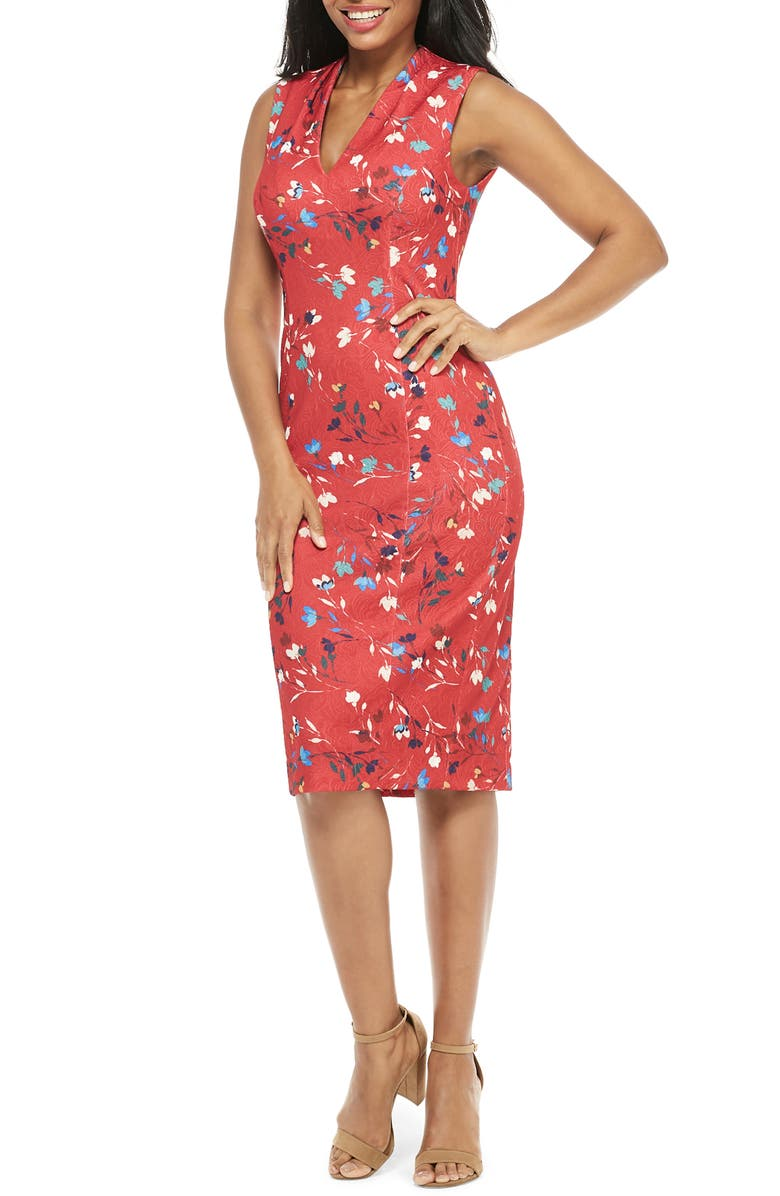 MAGGY LONDON Meredith Floral Print Sheath Dress, Main, color, RICH RED/ BRIGHT BLUE