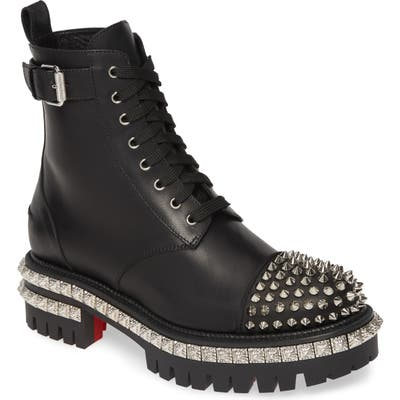 Christian Louboutin King Street Spike Combat Boot, Black