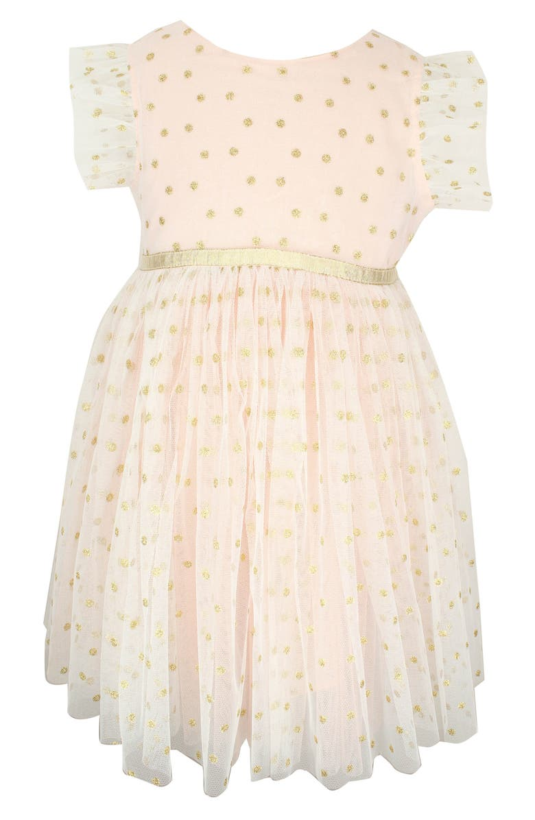 POPATU Dotted Tulle Dress, Main, color, PEACH