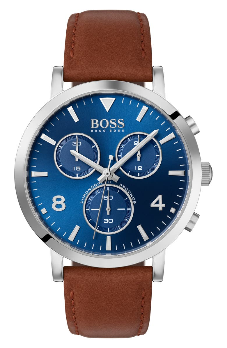 BOSS Spirit Chronograph Leather Strap Watch, 41mm, Main, color, BROWN/ BLUE/ SILVER