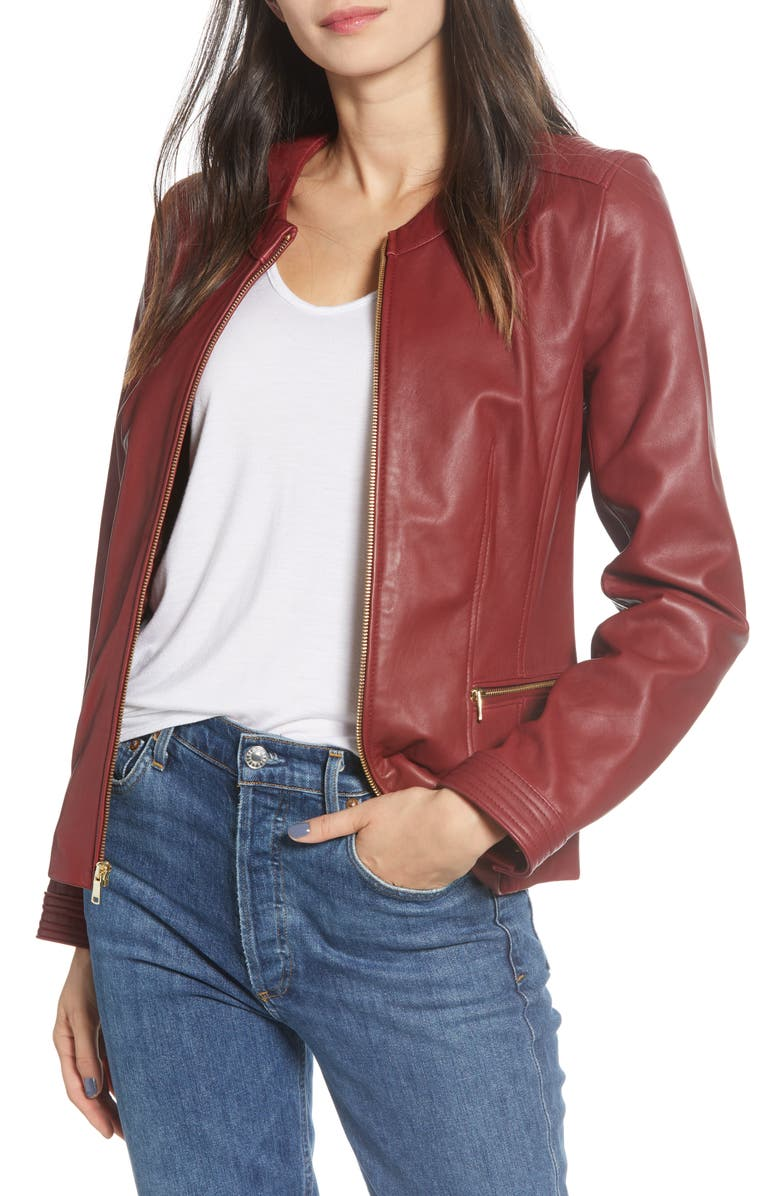 COLE HAAN Smooth Lambskin Leather Jacket, Main, color, RUBY RED