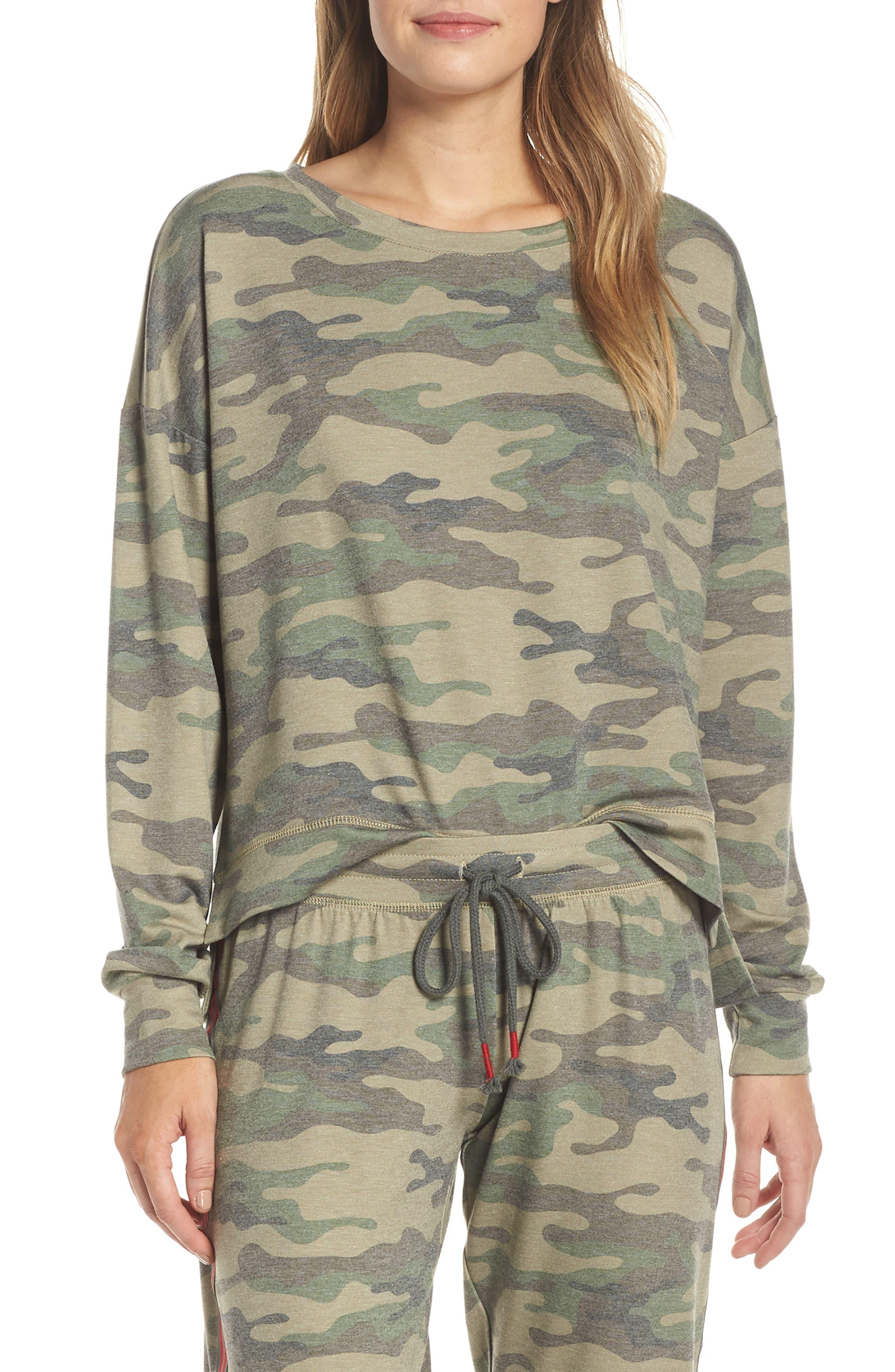 Camo Lounge Sweatshirt, Main, color, OLIVE