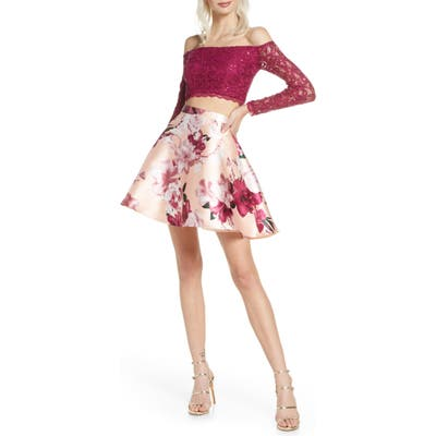 Sequin Hearts Sequin Lace & Mikado Long Sleeve Two-Piece Dress, Pink