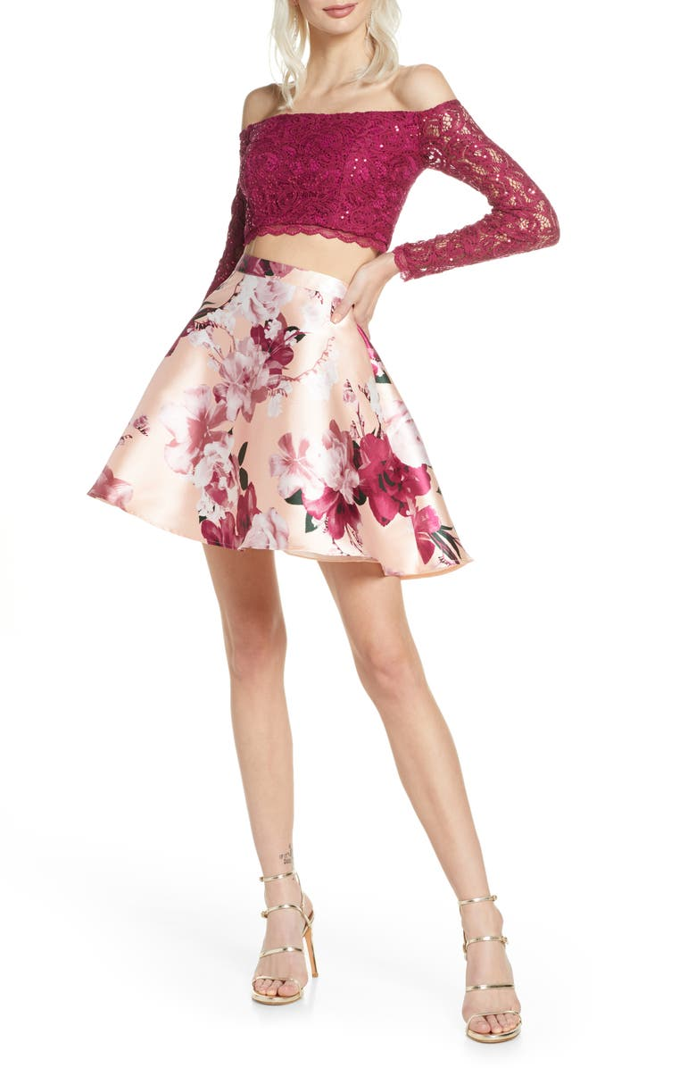 SEQUIN HEARTS Sequin Lace & Mikado Long Sleeve Two-Piece Dress, Main, color, BLUSH/ RASPBERRY