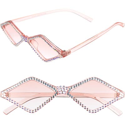 Rad + Refined Geometric Crystal Frame Sunglasses - Pink/ Crystal