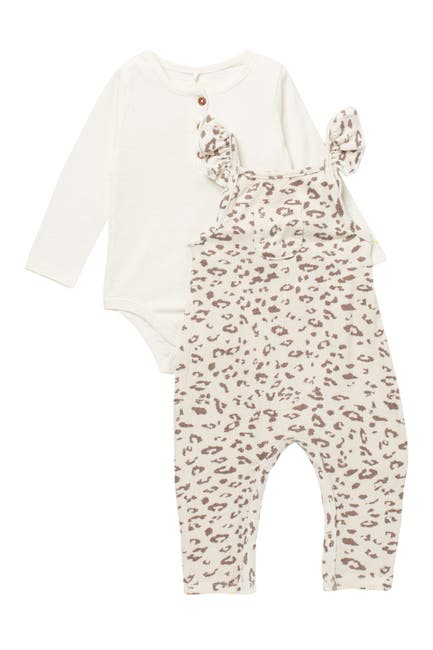Image of Jessica Simpson Bodysuit & Patterned Overalls