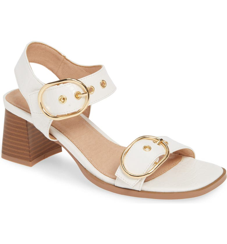 TOPSHOP Dolly Block Heel Sandal, Main, color, WHITE MULTI