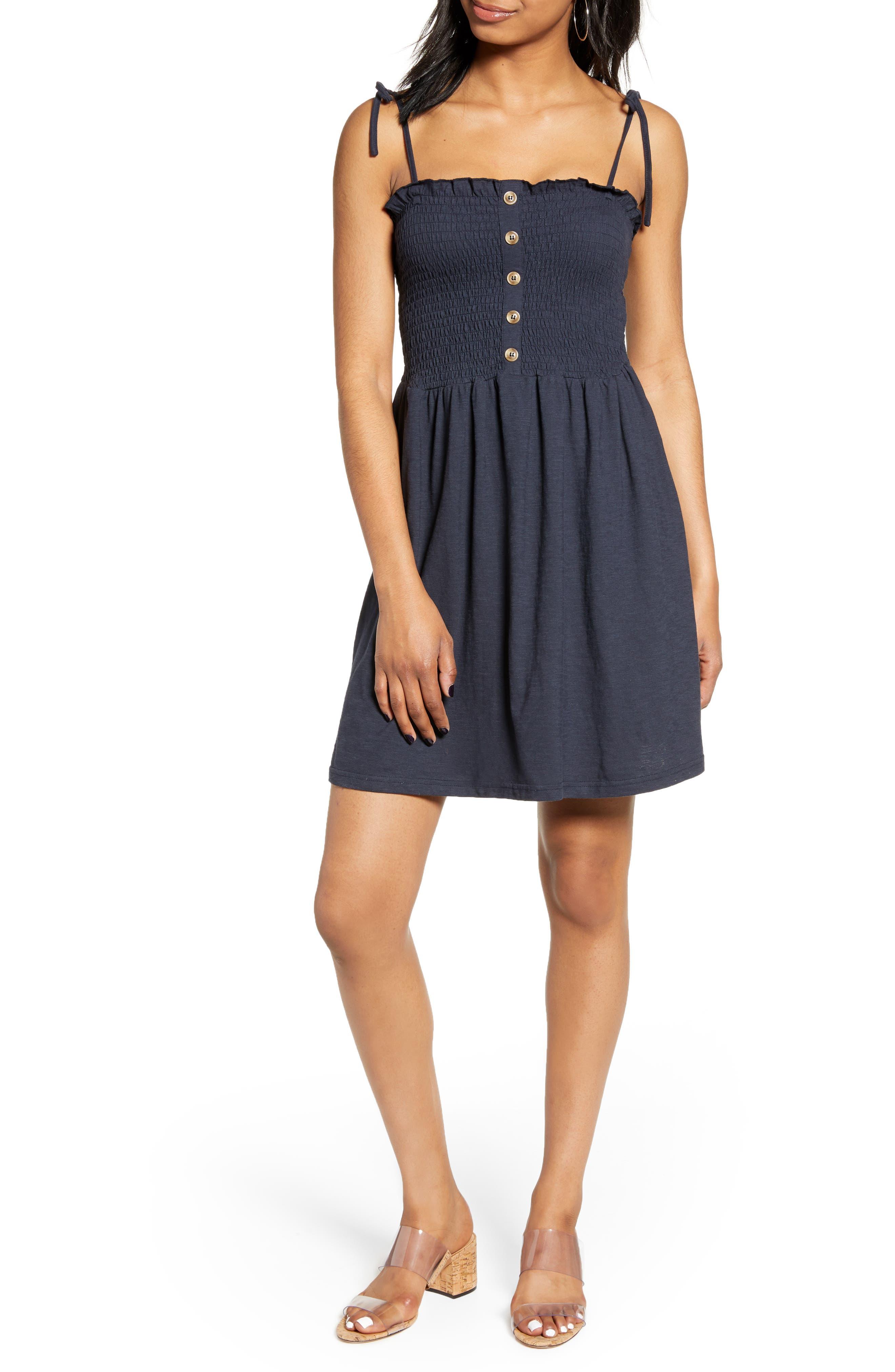Vero Moda Maria Tie Shoulder Minidress, Blue