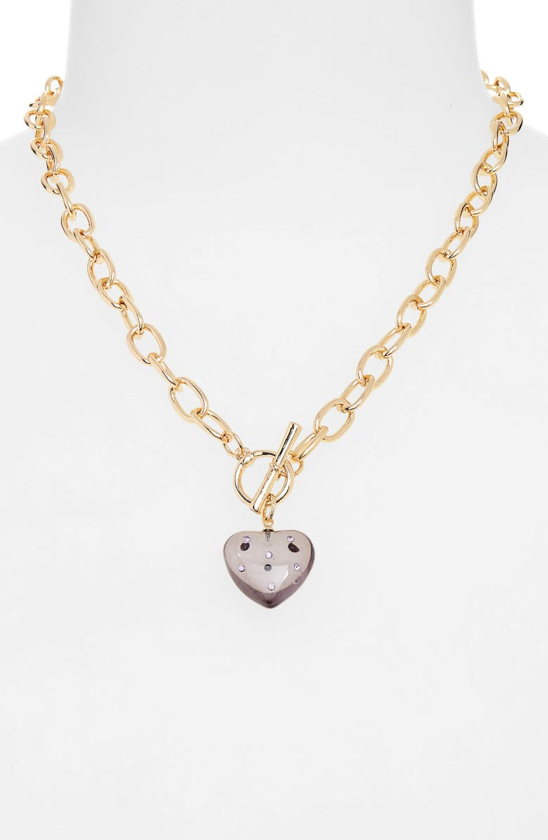 BP. Resin Heart Toggle Necklace, Main, color, GREY- PURPLE- GOLD