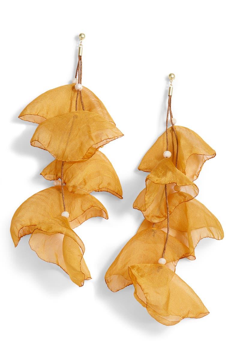 STELLA + RUBY Chiffon Flower Earrings, Main, color, GOLD-MARIGOLD