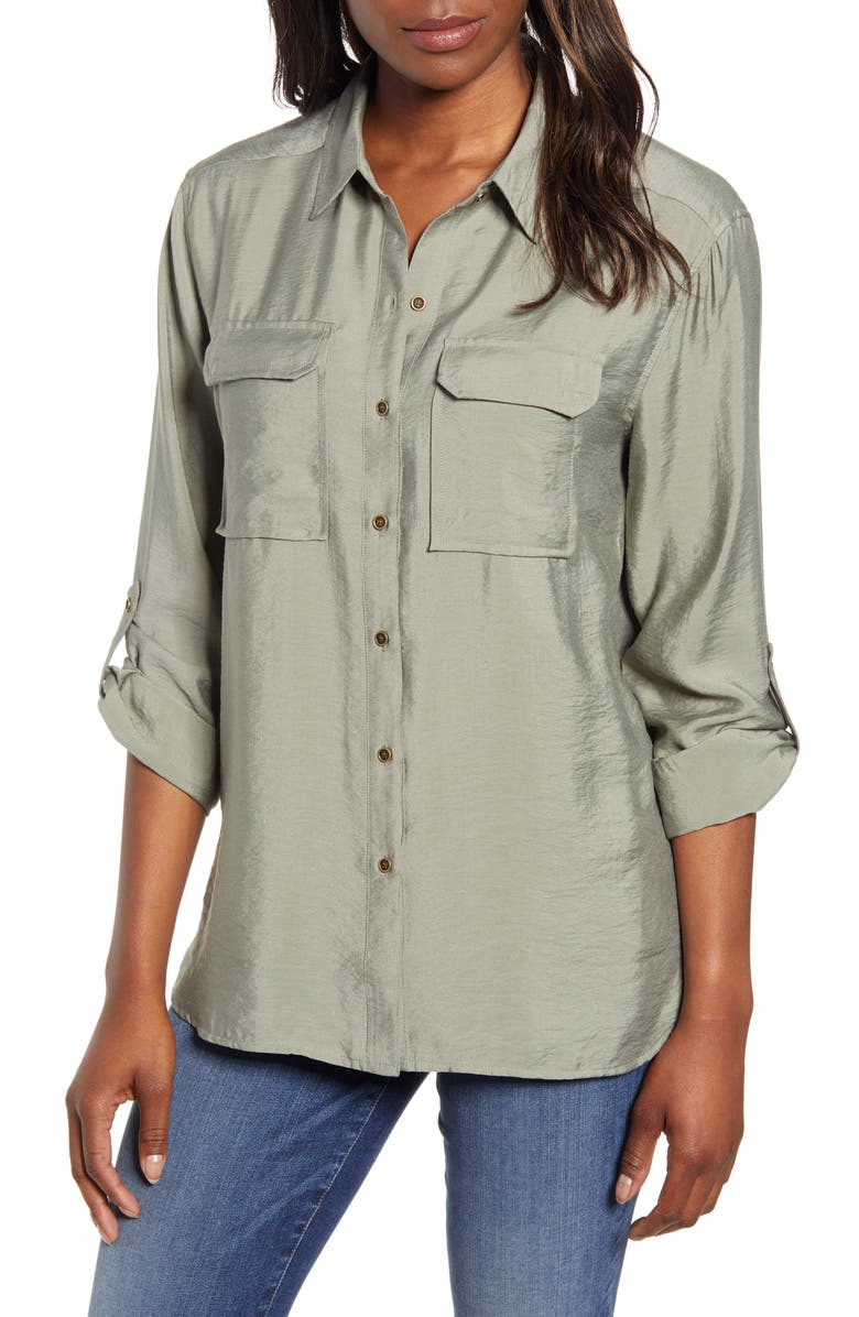 VINCE CAMUTO Hammered Satin Utility Shirt, Main, color, CAMO GREEN