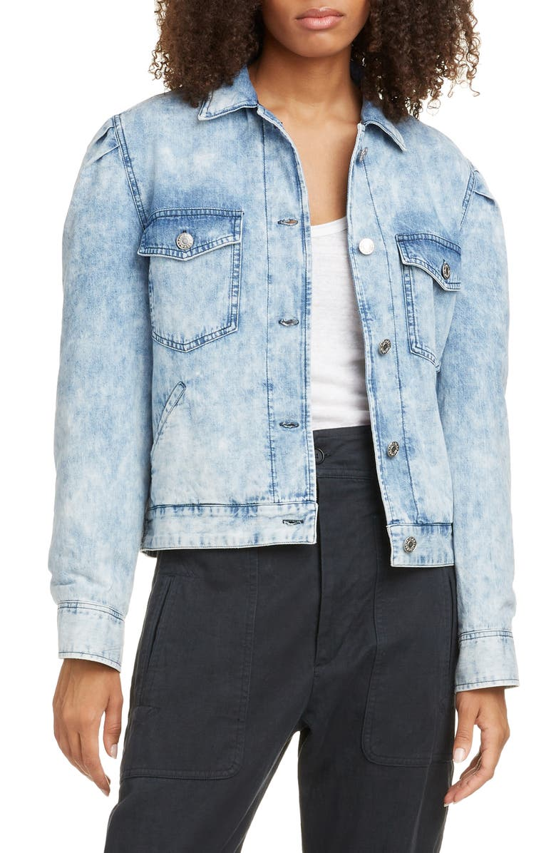 ISABEL MARANT ÉTOILE Iolinea Stonewash Denim Jacket, Main, color, 400