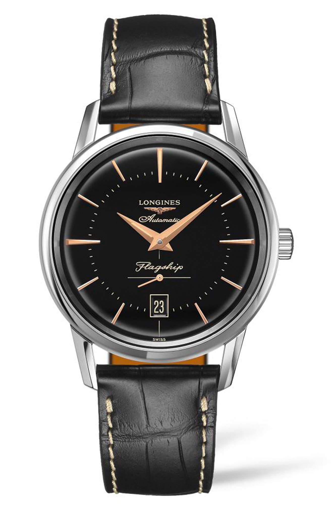 Flagship Heritage Automatic Leather Strap Watch