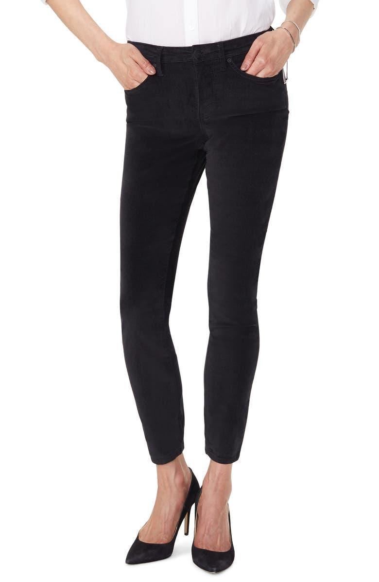 NYDJ Ami Stretch Velvet Skinny Pants, Main, color, BLACK